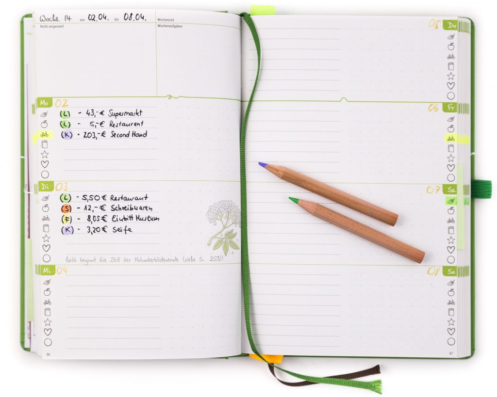 Haushaltsbuch - Tagesübersicht
