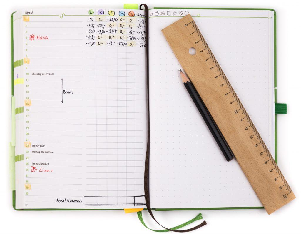 Haushaltsbuch - Monatsübersicht