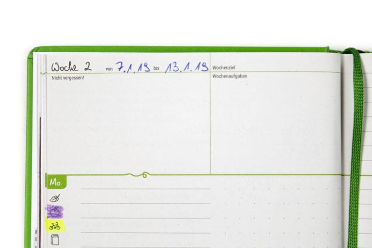 Den Grünen Faden personalisieren: Erste Benutzung, Datum eintragen und mehr